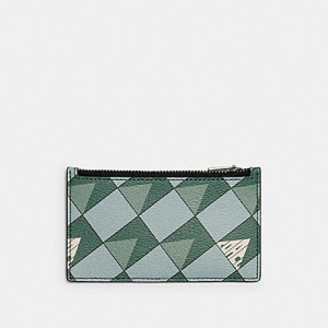COACH ZIP CARD CASE WITH CHECK GEO PRINT (QB/TEAL)