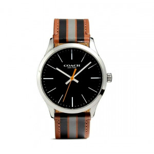 COACH BAXTER LEATHER STRAP WATCH WITH VARSITY STRIPE