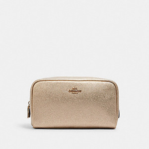 COACH SMALL BOXY COSMETIC CASE (IM/METALLIC PALE GOLD)