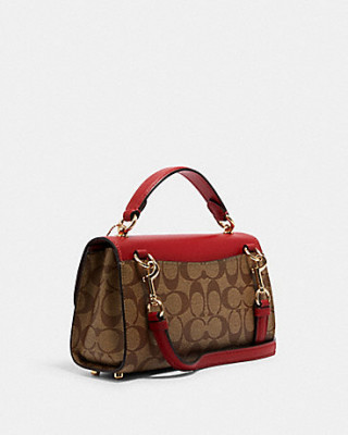 COACH TILLY SATCHEL 23 IN SIGNATURE CANVAS (IM/KHAKI/1941 RED)