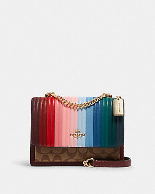 COACH KLARE CROSSBODY WITH RAINBOW LINEAR QUILTING (IM/KHAKI/CANDY PINK MULTI)