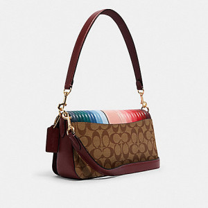 COACH GEORGIE SHOULDER BAG IN SIGNATURE CANVAS WITH RAINBOW LINEAR QUILTING (IM/KHAKI/CANDY PINK MULTI)