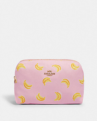COACH LARGE BOXY COSMETIC CASE WITH BANANA PRINT (IM/PINK/YELLOW)