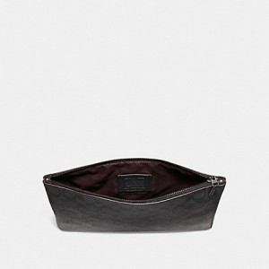 COACH LARGE POUCH (BLACK/BLACK/OXBLOOD)