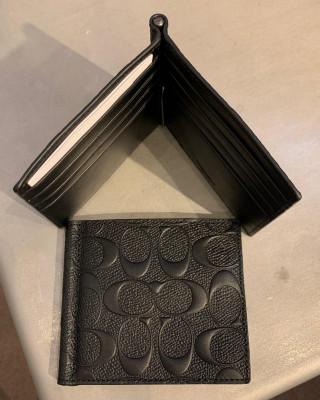 COACH MONEY CLIP BILLFOLD IN SIGNATURE LEATHER (BLACK)