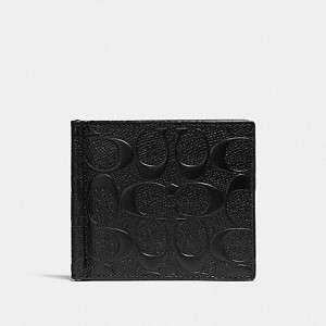 COACH MONEY CLIP BILLFOLD IN SIGNATURE LEATHER (BLACK)