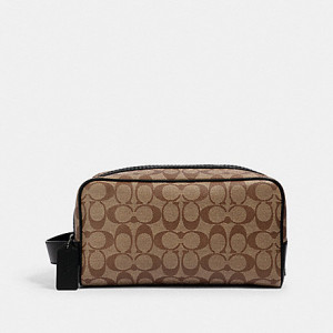 COACH LARGE TRAVEL KIT IN SIGNATURE CANVAS (QB/TAN BLACK)