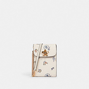 COACH RACHEL PHONE CROSSBODY WITH DANDELION FLORAL PRINT (IM/CHALK/BLUE MULTI)