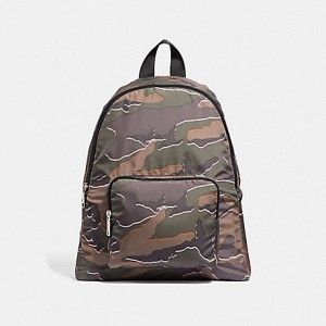 COACH PACKABLE BACKPACK WITH WILD CAMO PRINT (SILVER/GREEN MULTI)