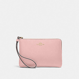 COACH CORNER ZIP WRISTLET IN CROSSGRAIN LEATHER (IM/BLOSSOM)
