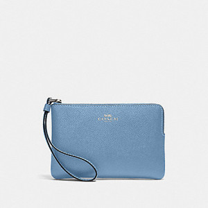 COACH CORNER ZIP WRISTLET IN CROSSGRAIN LEATHER (SILVER/SLATE)