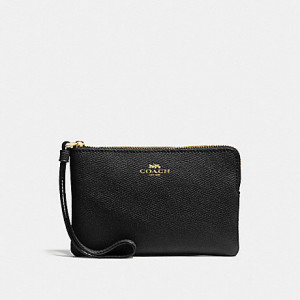 COACH CORNER ZIP WRISTLET IN CROSSGRAIN LEATHER (IM/BLACK)