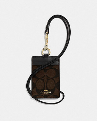 COACH ID LANYARD IN SIGNATURE CANVAS (IM/BROWN/BLACK)