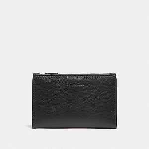 COACH SLIM BILLFOLD CARD WALLET (BLACK/BLACK ANTIQUE NICKEL)