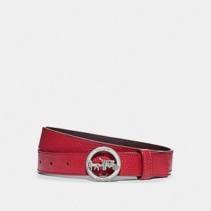 COACH HORSE AND CARRIAGE BELT (SILVER/TRUE RED/OXBLOOD)