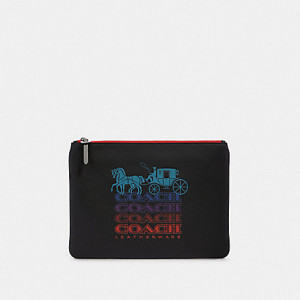 COACH LARGE POUCH WITH OMBRE COACH (QB/BLACK MULTI)