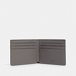 COACH SLIM BILLFOLD WALLET WITH VARSITY STRIPE (QB/HEATHER GREY/AEGEAN/SILVER)