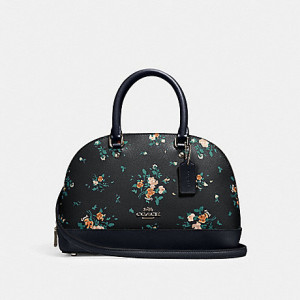 COACH MINI SIERRA SATCHEL WITH ROSE BOUQUET PRINT (SILVER/MIDNIGHT MULTI)