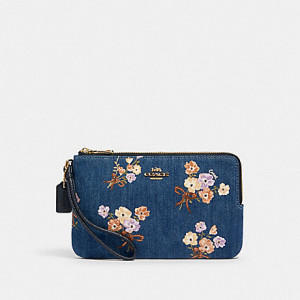 COACH DOUBLE ZIP WALLET WITH PAINTED FLORAL BOX PRINT (IM/DENIM MULTI)