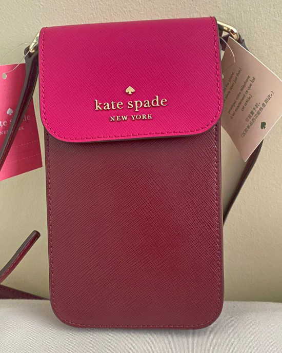 KATE SPADE STACI COLORBLOCK NORTH SOUTH FLAP PHONE CROSSBODY (PINK MULTI)