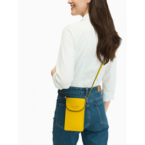 KATE SPADE MONOTONE NORTH SOUTH FLAP PHONE CROSSBODY (VIBRANT CANARY)
