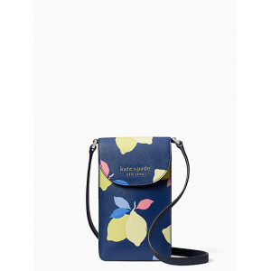 KATE SPADE CAMERON LEMON ZEST NORTH SOUTH FLAP PHONE CROSSBODY (RIVER BLUE MULTI)