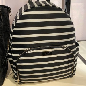 KATE SPADE DOWN SAILING STRIPE LARGE BACKPACK (BLACK MULTI)