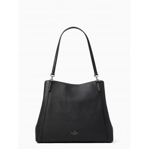 KATE SPADE JACKSON LARGE TRIPLE COMPARTMENT SHOULDER TOTE (BLACK)