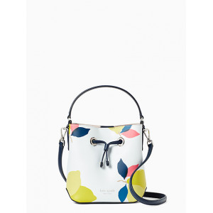 KATE SPADE EVA LEMON ZEST SMALL BUCKET (WHITE MULTI)