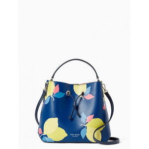 KATE SPADE EVA LEMON ZEST LARGE BUCKET (BLUE MULTI)