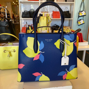 KATE SPADE EVA LEMON ZEST MEDIUM TOP ZIP SATCHEL (BLUE MULTI)