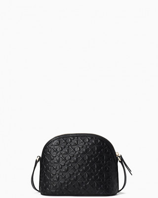 KATE SPADE HOLLIE SPADE CLOVER GEO EMBOSSED X-LARGE DOME CROSSBODY (BLACK)