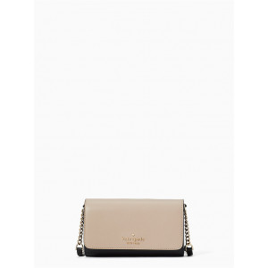 KATE SPADE STACI COLORBLOCK SMALL FLAP CROSSBODY (WARM BEIGE MULTI)