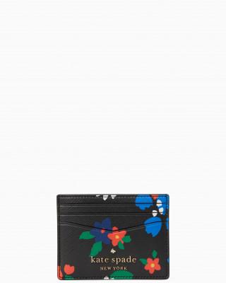 KATE SPADE STACI SAILING FLORAL SMALL SLIM CARD HOLDER (BLACK MULTI)