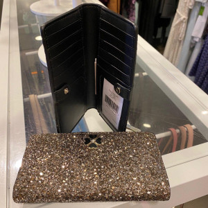KATE SPADE ODETTE GLITTER LARGE SLIM BIFOLD WALLET (ROSE GOLD)