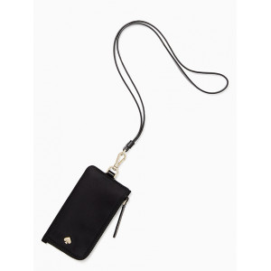 KATE SPADE JAE CARD CASE LANYARD (BLACK)