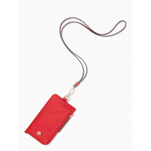 KATE SPADE JAE CARD CASE LANYARD (FAVORITE RED)