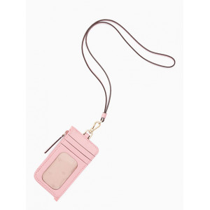 KATE SPADE JAE CARD CASE LANYARD (BRIGHT CARNATION)