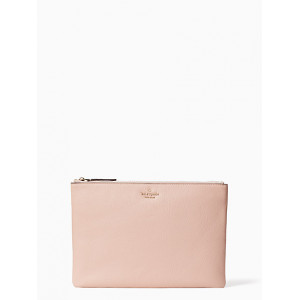 KATE SPADE JACKSON LARGE ZIP POUCH (ROSYCHEEKS)